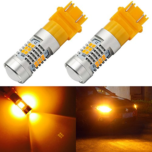 SiriusLED Bright White Amber Switchback LED Light Bulbs Turn Signal DRL 600LMs