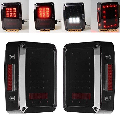 Ohmotor Jeep Led Tail Lights Smoked Red Taillights For. Ohmotor Jeep Led Tail Lights Smoked Red Taillights For Wrangler Brake Light Reserve Real Back Up Turn Signal L Jk. Wiring. Jk Led Tail Reverse Lights With Wiring Harnesses Kit At Eloancard.info