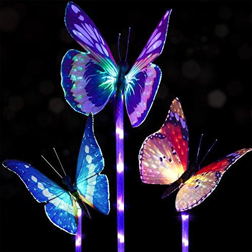 3 Pack Solar Stake Light Multi Color Changing LED Garden Lights, Fiber  Optic Butterfly Decorative Lights, Solar Powered Stake Light With A Purple  LED Light ...