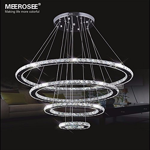 Warranty3 Years Model Modern Crystal Chandeliers Ceiling Light 4 Rings Color Cool White 6000K 6500K Material Top Grade K9 Crystals And Stainless