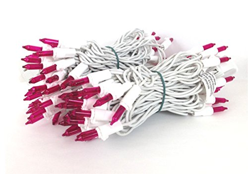 ul listed for indooroutdoor use 100 light pink mini light set 4 spacing white wire 33 long end connector to connect upto 3 sets end to end