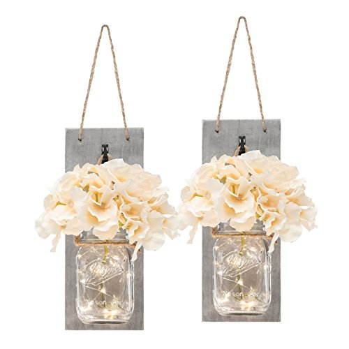 Set of Two Lighted Sconces Country Rustic Mason Jar Wall Sconce ...