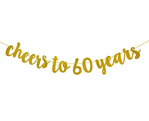 Fecedy Glittery Gold Cheers To 60 Years Banner For 60th Birthday Party