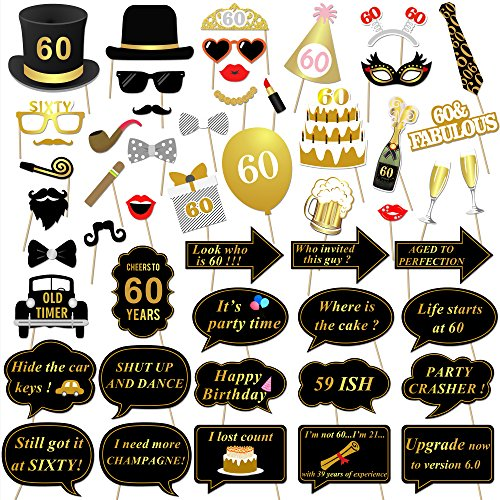 Konsait 60th Birthday Party Photo Booth Props 51count For Her Him