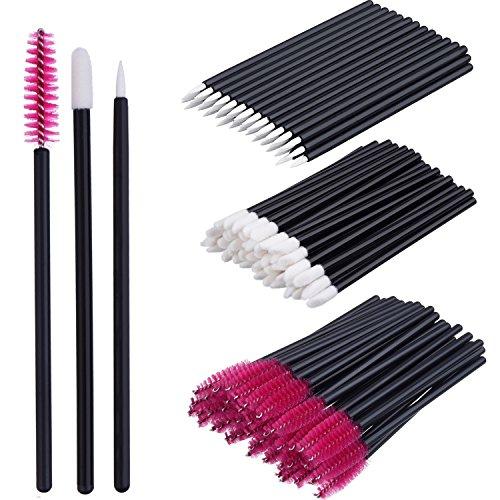 eBoot 150 Pieces Disposable Lip Brushes Eyeliner Brushes Eyelash Mascara Brushes Makeup Tool Kits Rose Red