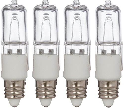 4 Pack Simba Lighting 75 Watt 120 Volt Halogen Light Bulbs E11 Base Mini Candelabra 120v 75w T4 Jd Lamp Soft White